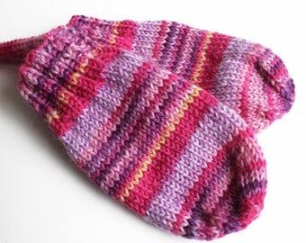 Thumbless Mittens. Infant 3 to 9 Months. Knit Pink Winter Gloves Without Thumbs. Hand Warmers. Wool Blend No Thumb Baby Mittens On a String