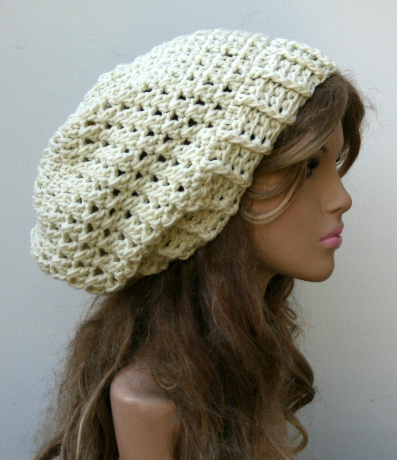 Baggy Beanie Hat Crochet Pattern : PDF Instant Download Pattern Baggy Hipster Slouchy Beanie