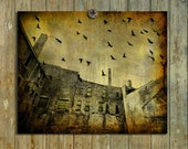 Industrial Art, Aged,  Photography,  Distressed Art, Grunge Urban Image, Pro Print, Bird Grouping, Old Buildings, Cityscape - Acid Sky