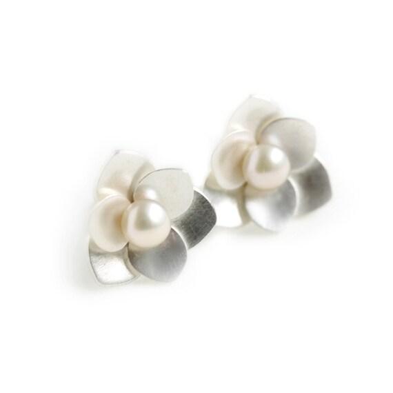Sterling Silver and Pearl Post Earrings - Lotus Flower Earrings - Pearl Earrings