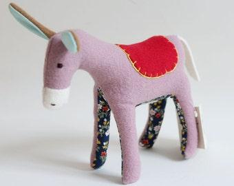 softie - little donkey, pink & flowers