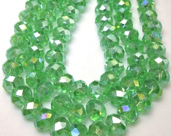 20 Light Green Faceted Glass Rondelle Beads 8x6mm (H1826)
