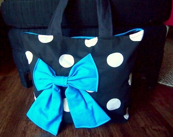 Handmade Black and White polka dot tote bag with Teal blue bow and back