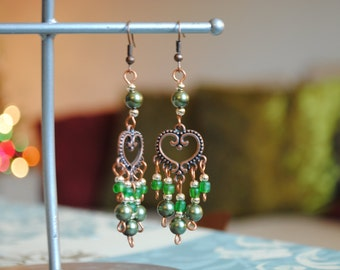 Green and Bronze Beaded Chandelier Earrings