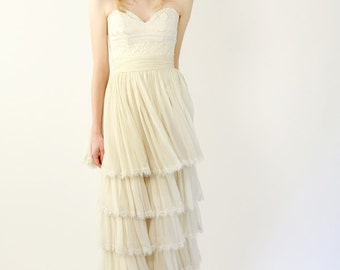 Sample SALE Silk and Lace Tiered Wedding Gown - Beatrice