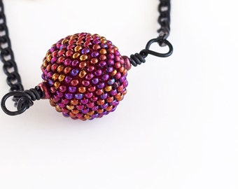 Beaded Bead Necklace, Purple, Seed Beads, Purple Pendent, Black Chain, Beadwork