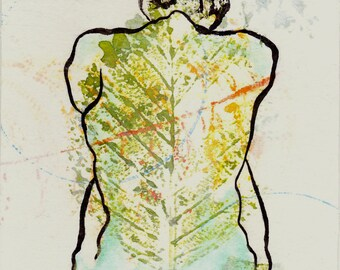 back of figure portrait, sumi ink line drawing, collage and monoprint, 6 x 8