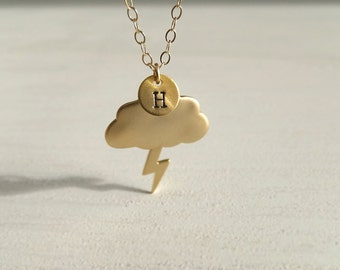 Storm Cloud Necklace Jewelry - Custom Personalized - Gold Cloud Charm - Gift for Her - Bolt Charm - Meteorologist - Women Gift - Weather Day