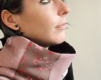 Pink patchwork cowl, womens pink snood, womens winter cowl in pink