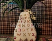 Cross Stitched ABC Sampler PEAR