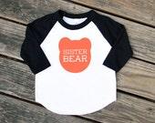 Sister Bear Toddler Kids Black Sleeve Baseball TShirt with Coral Print