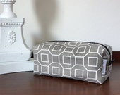 Large Boxy Pouch for Travel , Makeup , Toiletries (lined, graphic print)
