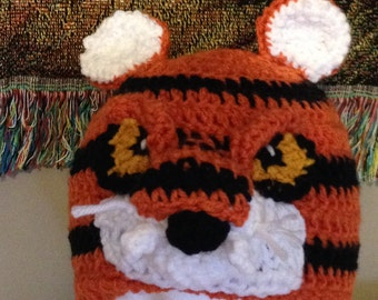 Tiger Crochet Beanie Skullcap Hat -all sizes newborn through adult-specialty hat made to order