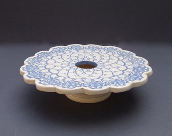 Handmade Ceramic Pottery Vase . Doily Lace Ikebana Vase