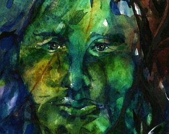 Green Man Watercolor Art Painting, Spiritual Abstract Nature Giclee archival print from original painting by Kathy Morton Stanion EBSQ