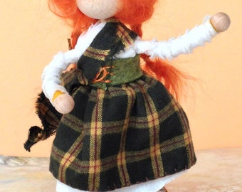 Highland Spirits, Waldorf style seasonal doll, poseable bendy , wooden head,hand and feet