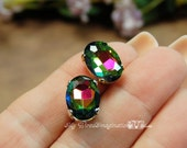 Vitrail Medium Watermelon Vintage West German Faceted 14x10mm Oval Crystal Sew On Craft Supplies Jewelry Making
