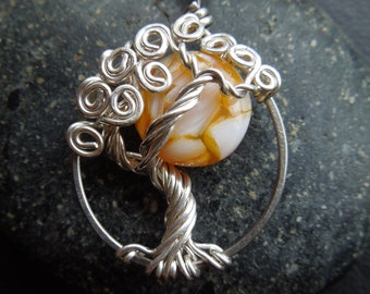 Yellow Moon Tree of Life Necklace-Silver- Mother of Pearl-Sunflower yellow