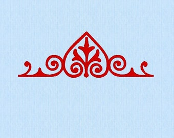 Curly Heart Calligraphy Border Machine Embroidery Design File suitable for endless line