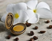 Coffee scented perfume: Natural Solid Perfume in antique style locket with Jamaican Blue Mountain coffee beans, frangipani, vanilla bean