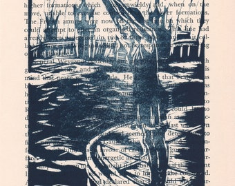 Limited Edition Linoleum Print - Take the Plunge - in Indigo on Vintage Book Page