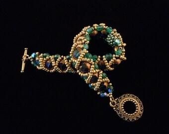 Beaded Bead Bracelet, Gold Beaded Bracelet, Green Beaded Bracelet, RAW Bracelet
