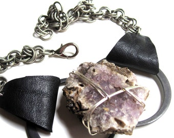 Raw Amethyst & Leather Lita Geode Necklace