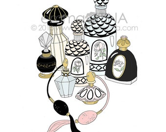 French Vintage Perfumes Decorative Illustration Art Print