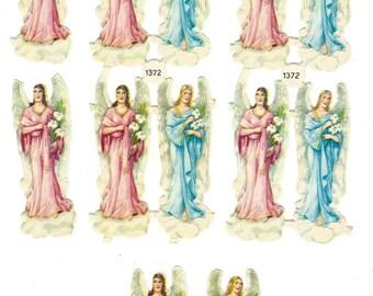 Vintage Die Cut Paper Scrap Angels 12 Pieces