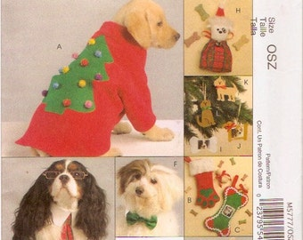 Dog Lover Gifts costumes coats McCalls 5777 Collar ornaments pet tie collar stocking sewing pattern UNCUT