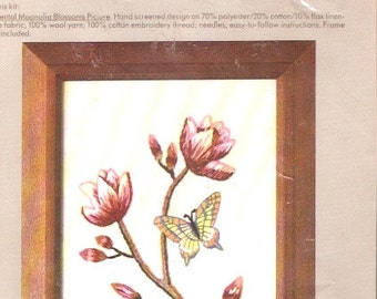 The Accents kit Columbia Minerva 7341 Oriental Magnolia Blossoms and butterfly Flowers 80s vintage embroidery needlework Unopened