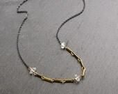 Raw Crystal Necklace, Herkimer Diamond Necklace, Mixed Metal, Minimalist Necklace, Oxidized Silver, Brass Chain, Herkimer Diamond Jewelry