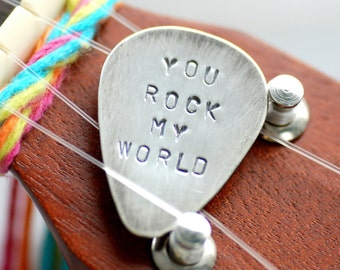 Stamped Sterling Silver Guitar Pick, Personalized Musican Gift, Gift for Him, Keepsake Gift, Boyfriend Gift - You Rock My World