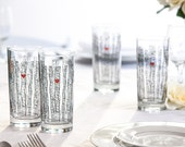 Birch Tree Glassware - Set of 4 Everyday Water Glasses, Birch Tree Wedding Glasses, Birch Tree Themed Wedding