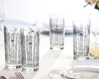 Birch Tree Glassware - Set of 50 Wedding Favor Glasses, Birch Tree Wedding Glasses, Birch Tree Themed Wedding