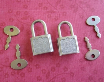 Pair of Vintage Little Locks with Four Keys