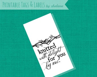PDF Printable Craft Show or Gift Tag - Knitted with Delight Product Labels for Fiber Arts