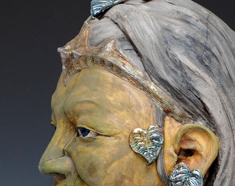 Ceramic Figure Bust With Bodhi Leaves Raku Sculpture by Anita Feng