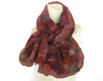 Felted Scarf Cobweb Wool Silk Multicolor Pink Reds Burgundy Browns SALE