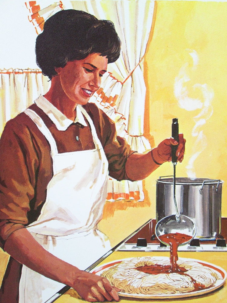 Vintage School Poster Woman Cooking Spaghetti Color