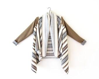 Blanket Coat, Blanket Cardigan, Boho Blanket Coat, Striped Cardigan, Layering, Comfortable Womens Top, Cozy Top Long Sleeves, Norwegian Wood