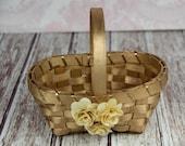 Gold Flower Girl Basket