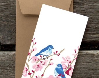 Bluebirds in Cherry Blossom-- 8 Blank flat cards and envelopes