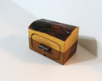 Trinket Box Made Of Cypress wood With Bark