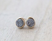 Druzy Studs , Tiny Platinum Silver Post Earrings , Minimalist Everyday Fashion , Teen Gift Ideas  - Micros