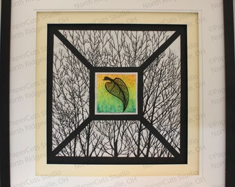 Autumn Gold Papercutting and Paper Sculpture- Handcut Original, Framed, Watercolor