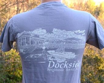 vintage 80s t shirt DOCKSIDE wrightsville beach north carolina tee shirt Small preppy wilmington