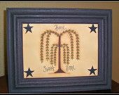 Primitive Willow Tree 5 x 7 Framed Home Sweet Home Picture Home Decor