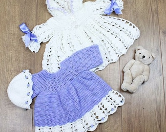 CROCHET PATTERN For Lilac Baby Dress, Hooded Jacket & Hat PDF 158  Digital Download