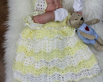 CROCHET PATTERN For Full of Lace Baby Summer Dress & Bonnet in 5 Sizes 0- 12 months PDF 100 Digital Download